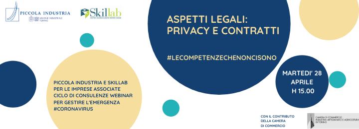 """Webinar """"Aspetti legali: privacy e contratti"""" − Progetto #lecompetenzechenoncisono"""