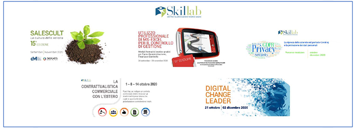 Corsi SKILLAB – A settembre riprende l'attività formativa in aula con tante novità e in tutta sicurezza − Accanto alla proposta dei corsi a catalogo, 5 nuovi percorsi progettati per accelerare il cammino delle aziende verso cambiamento e competitività